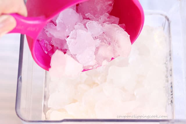 Add crushed ice to blender