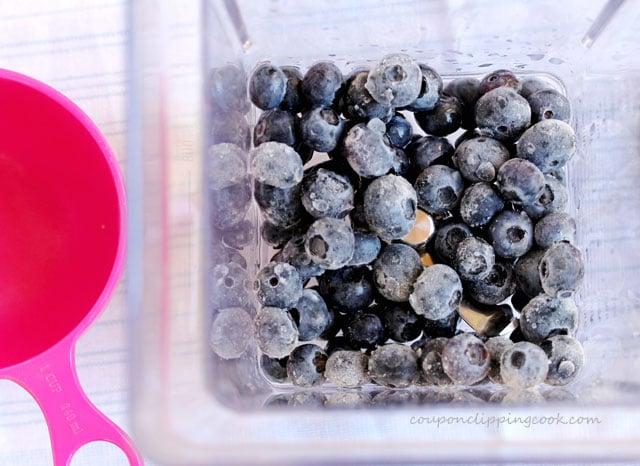 Blueberries in blender pitcher