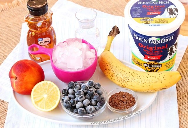 Peach and Blueberry Smoothie Ingredients