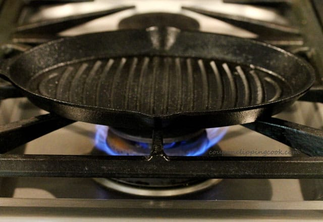 Cast iron skillet on stove top