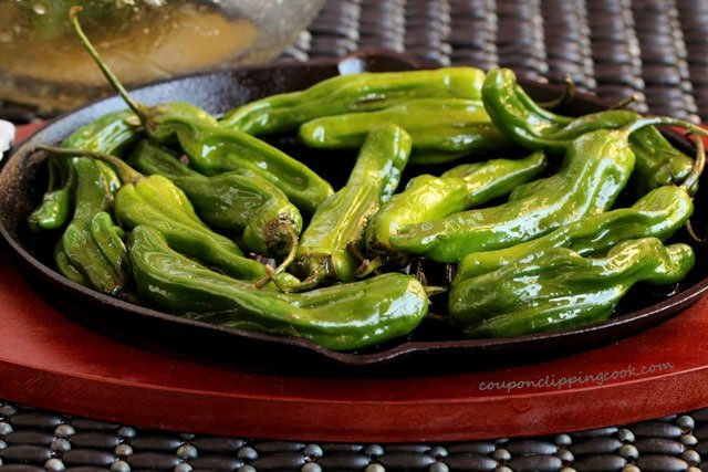 Shishito peppers on skillet