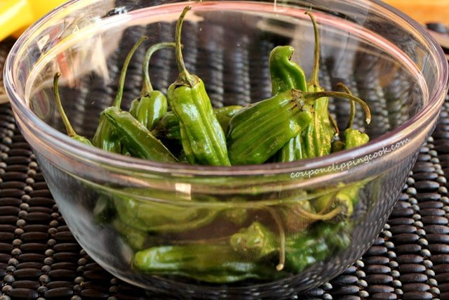 Shishito peppers in bowl