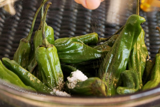 Add pepper to shishito peppers