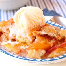 Nectarine and Peach Cobbler in dish