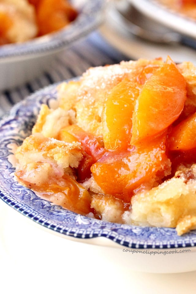 Nectarine and Peach Cobbler in bowl