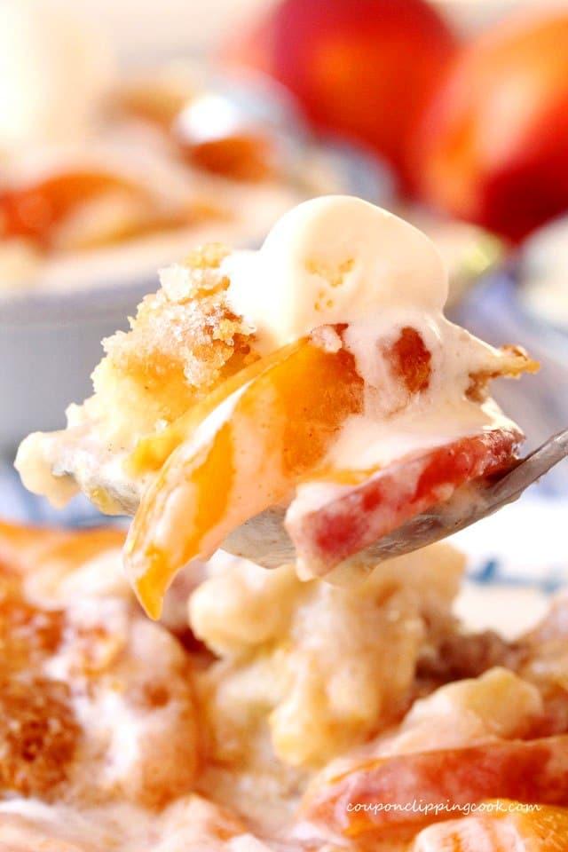 Peach Nectarine Cobbler on fork