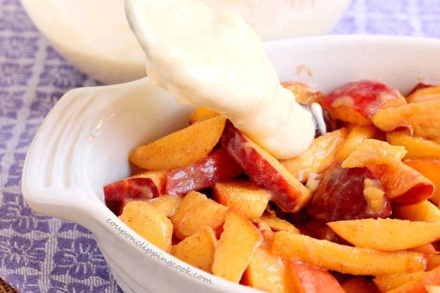 Add dough batter on peaches