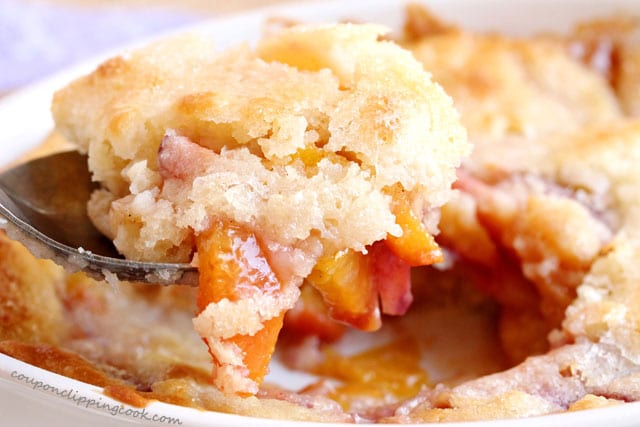 Nectarine and Peach Cobbler in spoon