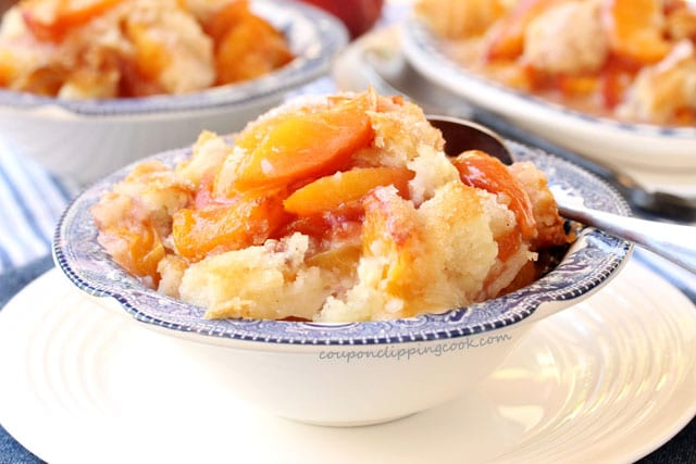 Peach and Nectarine Cobbler in bowl
