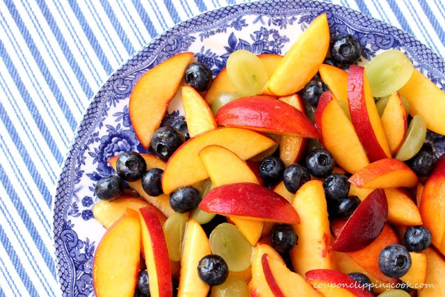 Peach and Blueberry Fruit Salad on plate