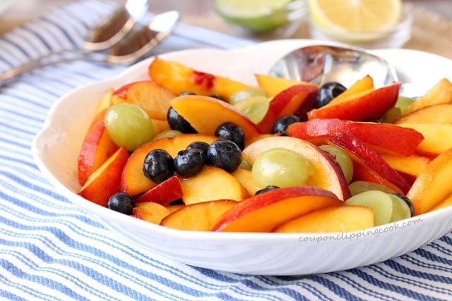 Peach and Blueberry Fruit Salad in bowl