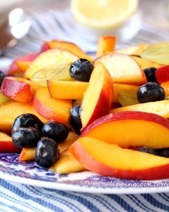 Peach and Blueberry Fruit Salad with Honey Citrus Dressing