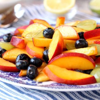 Blueberry and Peach Fruit Salad on plate