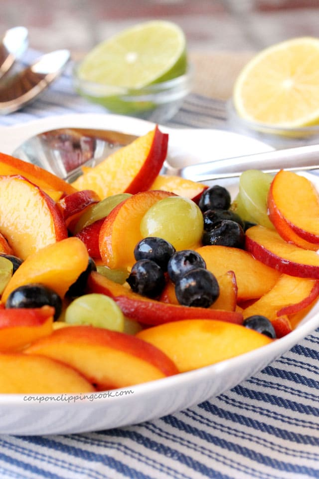 Blueberry and Peach Fruit Salad in bowl