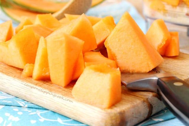 Cut cantaloupes on board