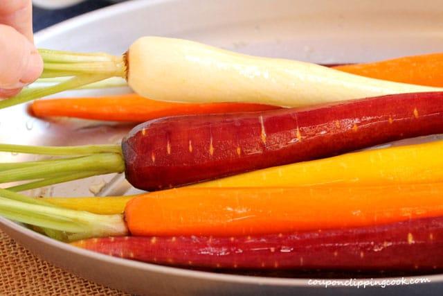 Roll carrots in pan