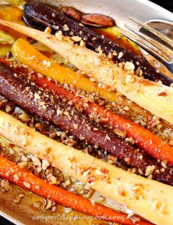 Roasted Rainbow Carrots with Maple and Pecans