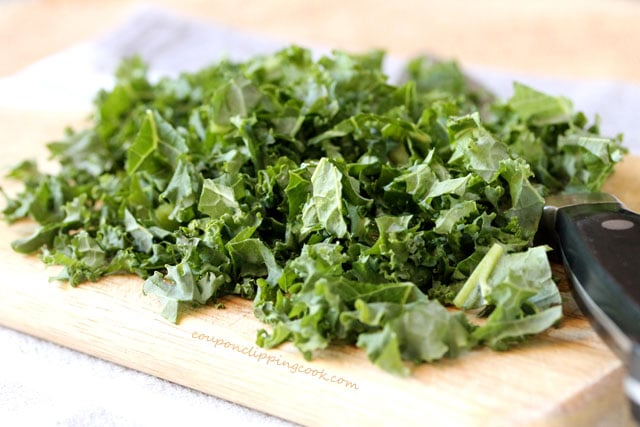 Chopped kale on board