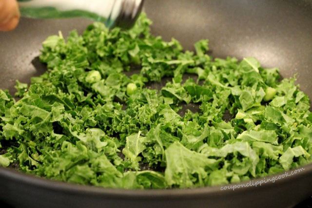 Add chopped kale to pan