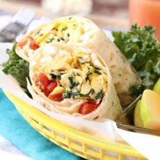 Kale Feta and Egg Wrap