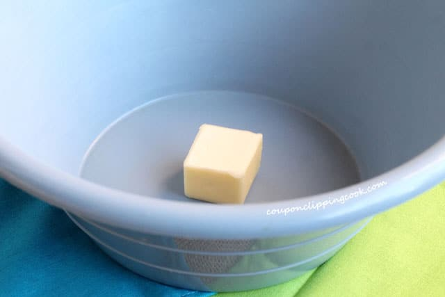 Butter in blue bowl