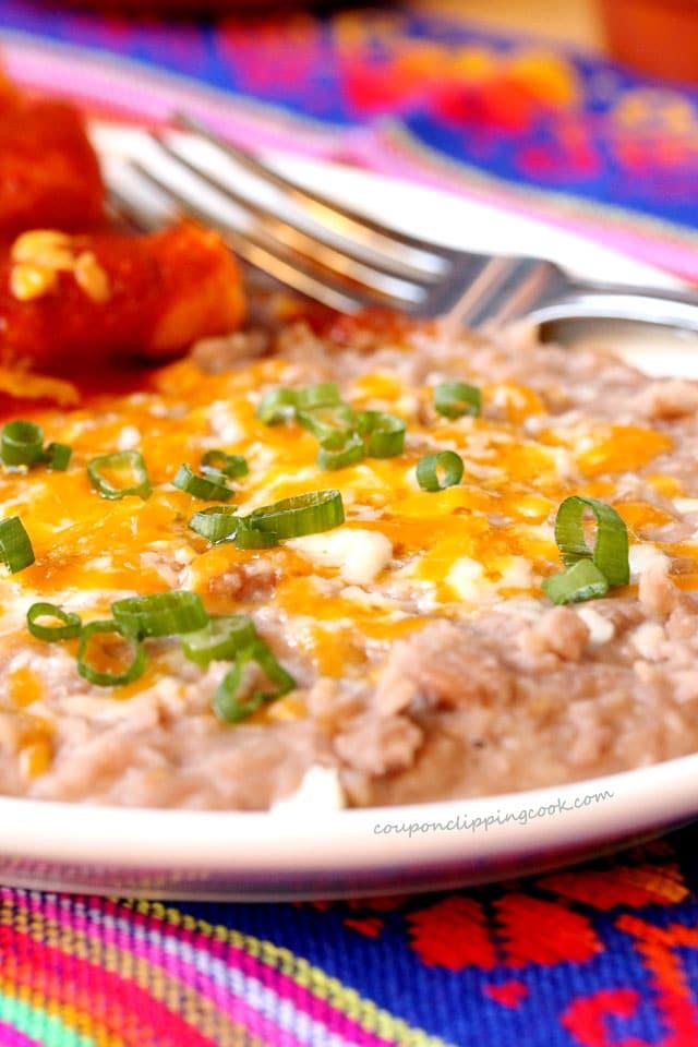 Refried beans on platter