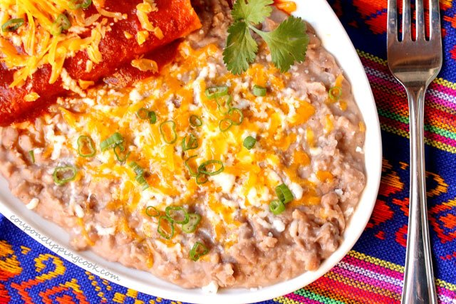 Refried beans on plate