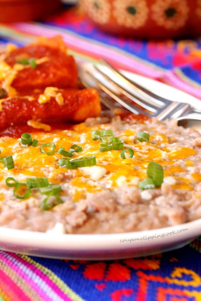 Refried pinto beans on plate