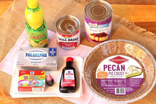 Pink Cherry Cheese Pie Ingredients