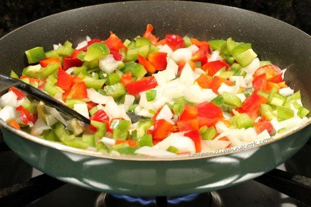 Cut vegetables in skillet