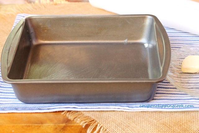 Greased brownie pan