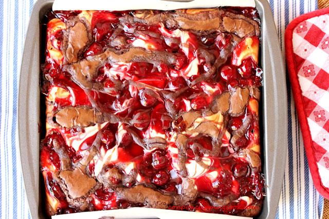 Cherry Brownie in Pan