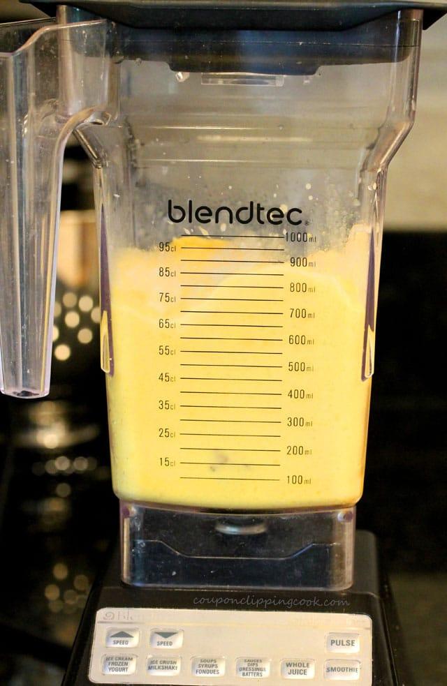 Mango smoothie in blender