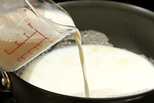 Pour cream in pan