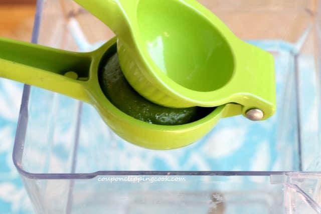 Add lime juice to blender