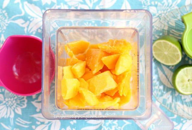 Mango chunks inside blender