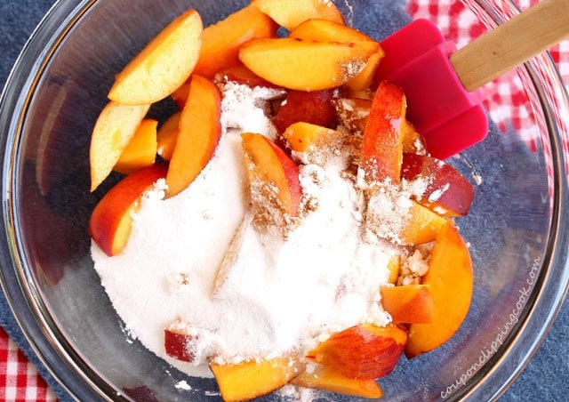 Corn starch on peaches in bowl