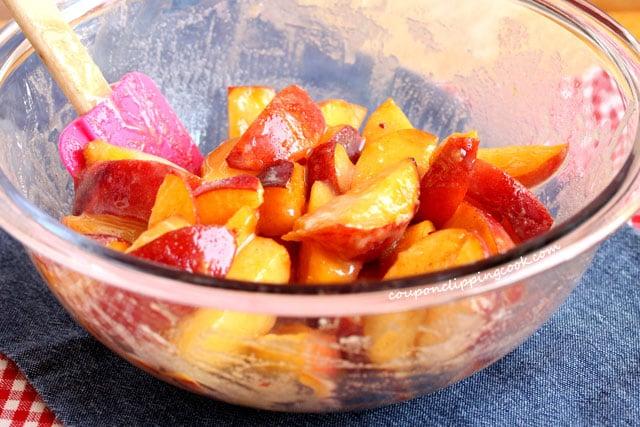 Peach pie filling in bowl