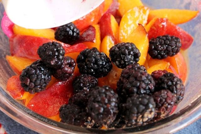 Add blackberries to peaches