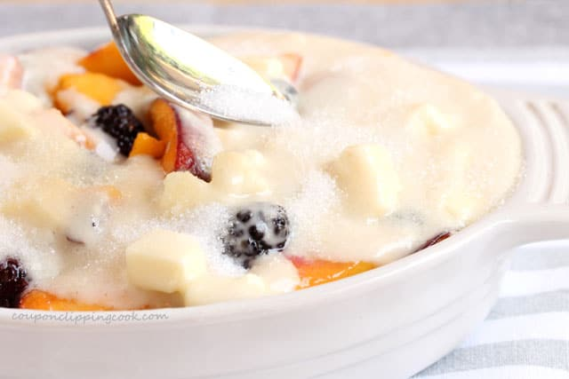 Add sugar topping on cobbler